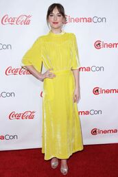 dress,yellow,yellow dress,sandals,dakota johnson