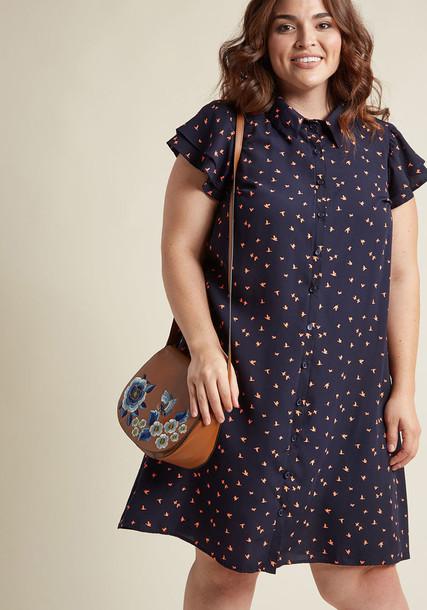 D843 dress shirt dress monday wow navy blue pattern orange red