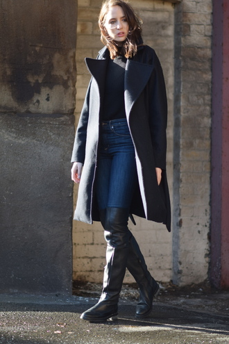 shot from the street blogger knee high boots grey coat charcoal