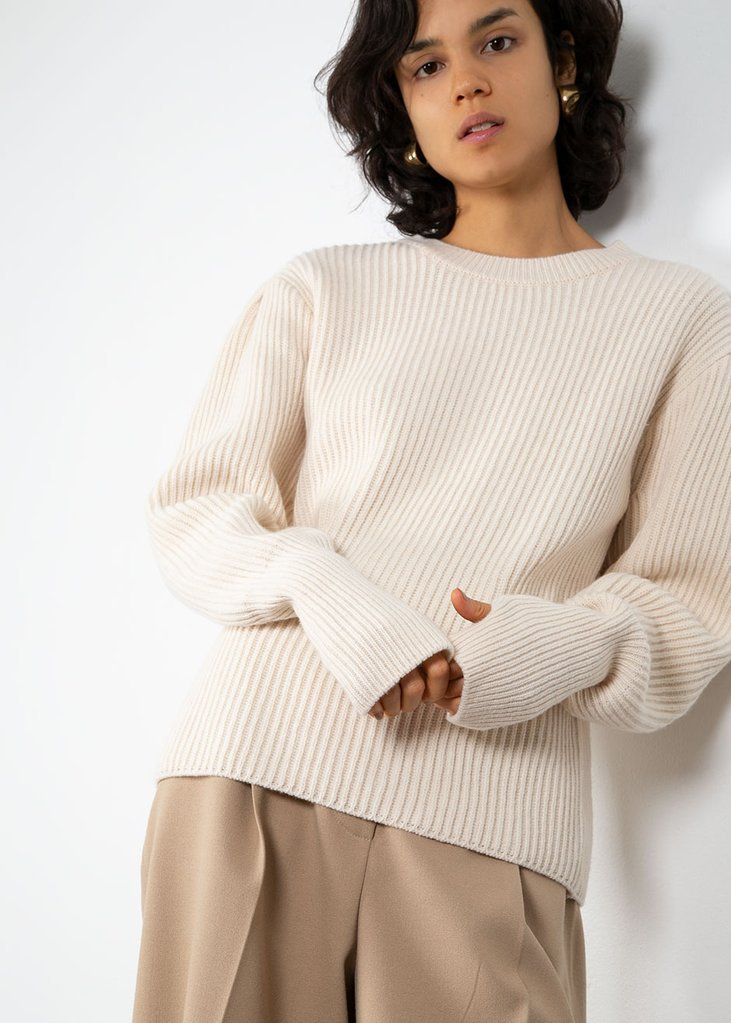 Puff Shoulder Ribbed Sweater- Cream