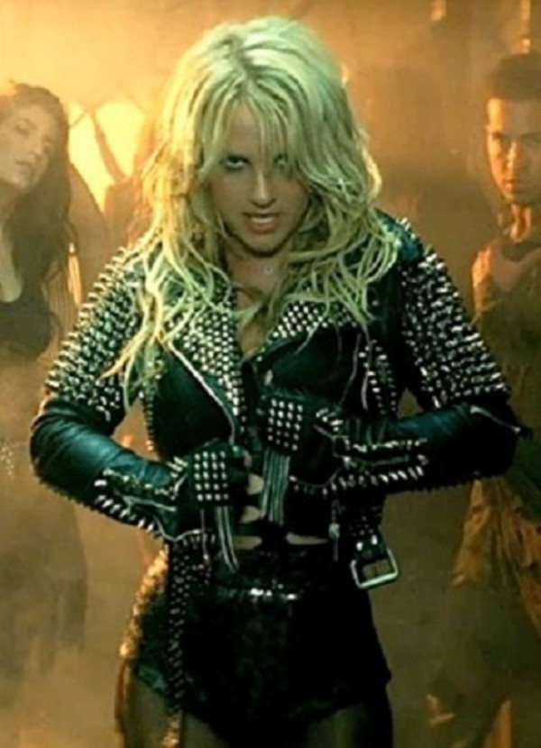 jacket till the world ends women britney spears celebrity style womens accessories lifestyle singer spiked leather jacket spikes belted jacket outerwear