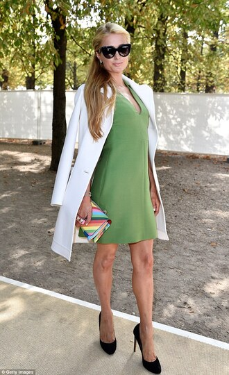 coat dress fashion week 2014 streetstyle paris hilton