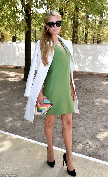 paris hilton fashion week 2014 streetstyle dress coat