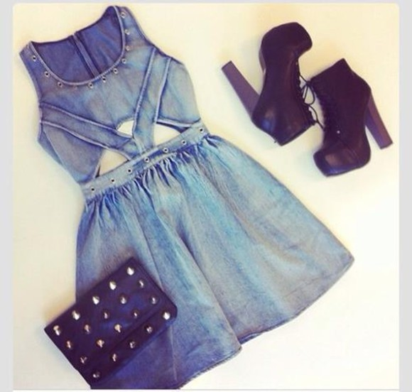 dress denim dress shoes bag blue denim outfit fashion cute cute dress black shoes high heels unique different pretty wallet spikes metal denim cut out dress demin dress