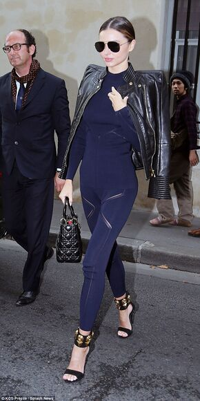 miranda kerr jacket leather jacket fashion week 2014 leggings pants dark blue