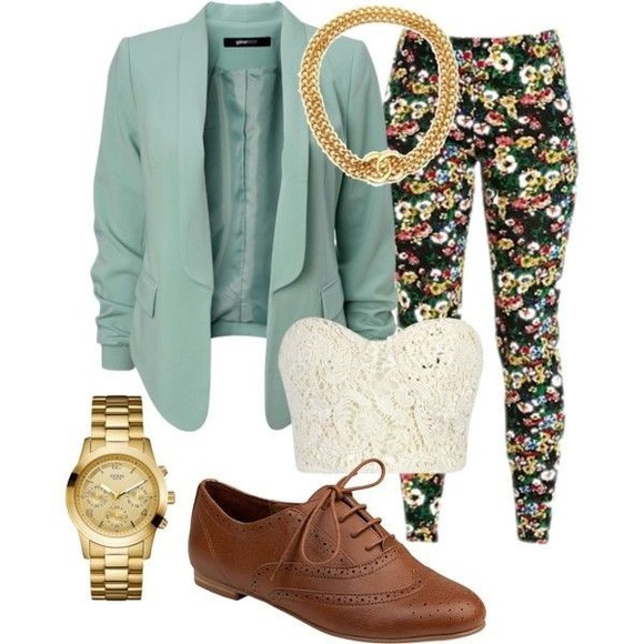 teal floral coat oxfords gold chain jewels