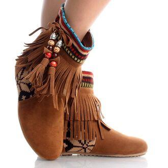 bohemian boots boho style tribal pattern