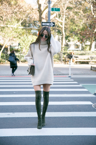 dress tumblr knit knitwear knitted dress sweater dress turtleneck dress turtleneck boots over the knee boots over the knee sunglasses