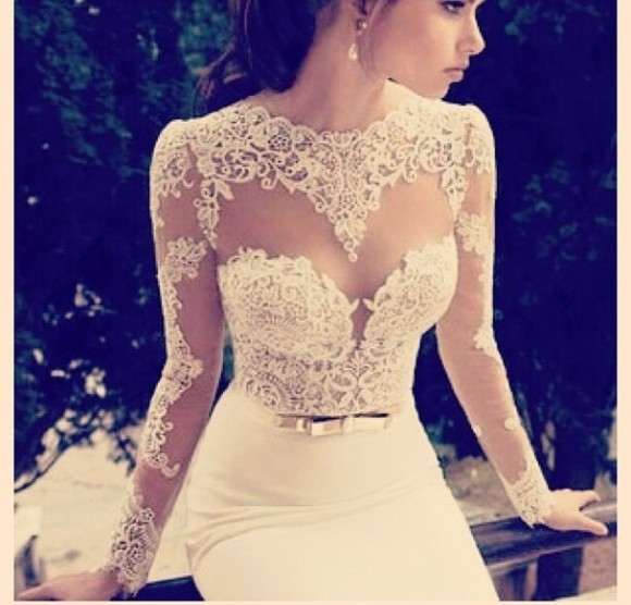 dress white dress wedding dress clothes: wedding lace top wedding dress lace wedding dresses white lace dress lace wedding dress sweetheart prom dress see through goddess angelic