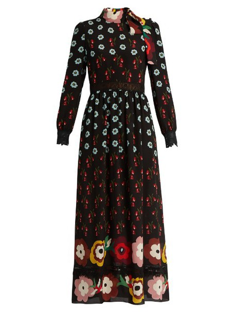 REDVALENTINO Floral-print lace-insert silk maxi dress in black / multi