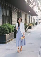 skirttherules,blogger,t-shirt,jacket,dress,jewels,shoes,bag,midi dress,blue dress,clutch,summer outfits,blazer