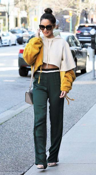 pants sweatshirt hoodie cropped crop tops cropped hoodie olivia munn streetstyle spring outfits sweater