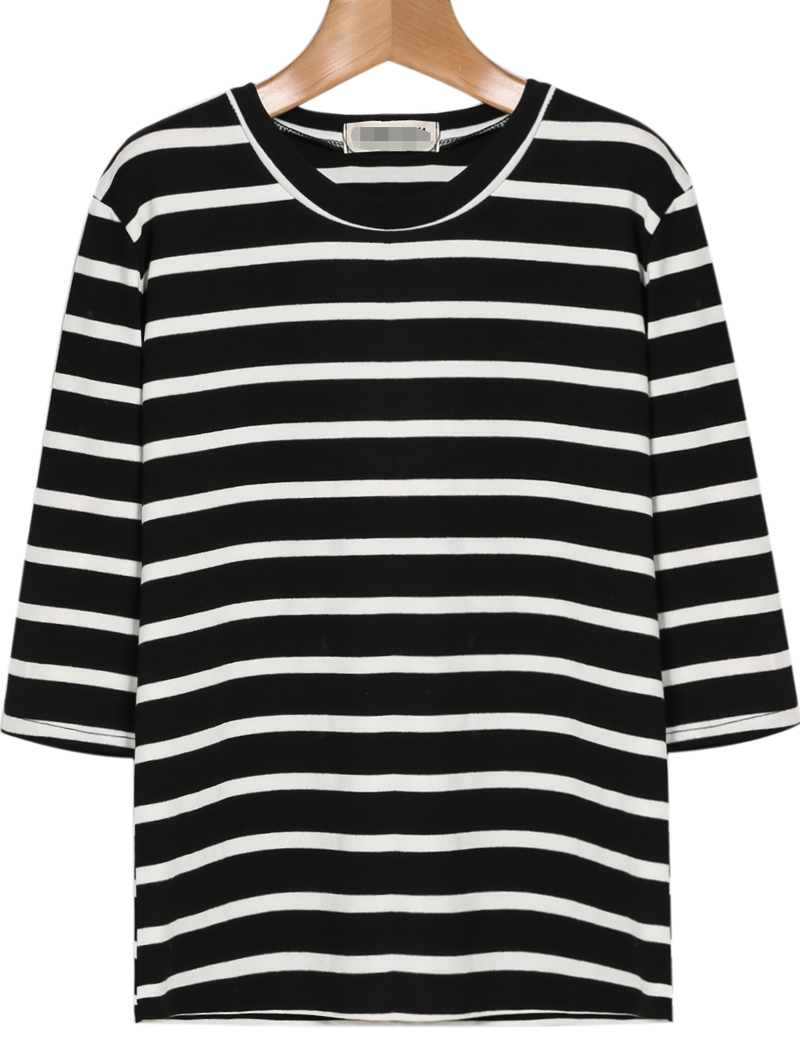 Black White Striped Long Sleeve Loose T-Shirt - Sheinside.com