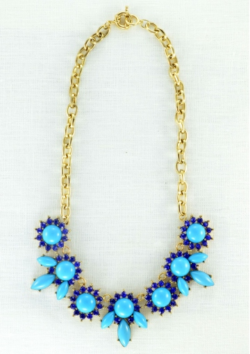 Flower Bouquet Statement Necklace In Royal Blue - Happiness Boutique