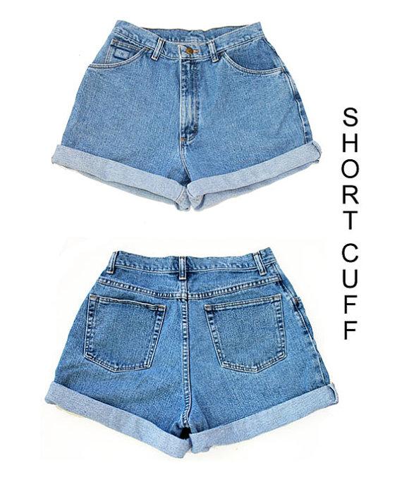 Custom High Waisted Rolled Up Cuff Jean shorts by SheFitzRetro