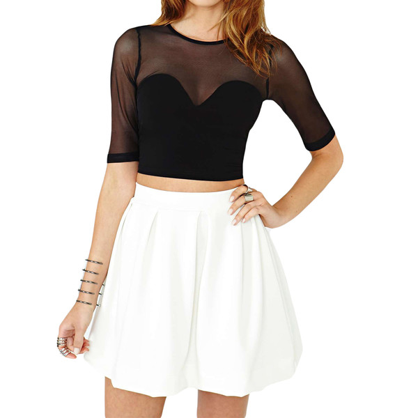 top black black and white skirt white white skirt