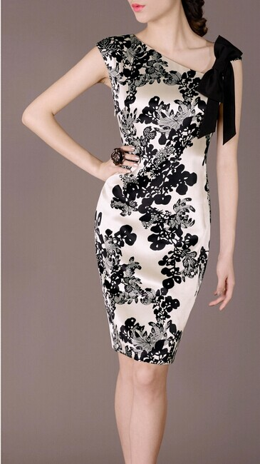 Silk Elegant Noble Summer OL Slim Women Fashion Dress lml7059 - ott-123 - Global Online Shopping for Dresses
