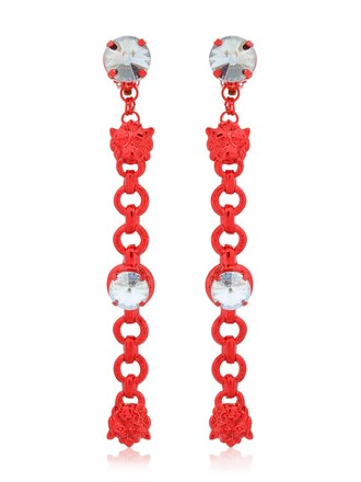 earrings grey red jewels