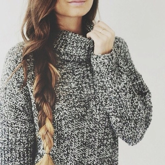 sweater grey gray turtleneck knit