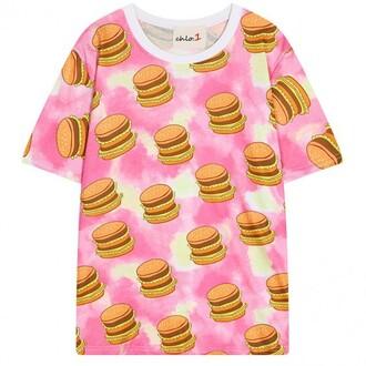 t-shirt pink hamburger fashion style teenagers cute summer boogzel
