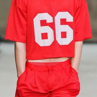 shirt sports luxe varsity meshs sheer panel vintages jersey t-shirt shorts red set two-piece nike sportswear