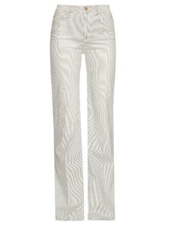 jeans high white blue