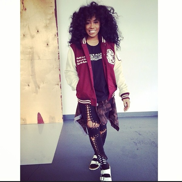 pants sza black dirtbag shirt red varsity jackets shoes jacket