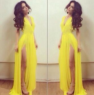 dress maxi yellow gorgeous model hairstyles beauty make-up mac sephora yellow dress slit dress