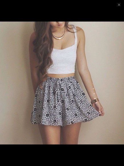 pattern high waisted skirt
