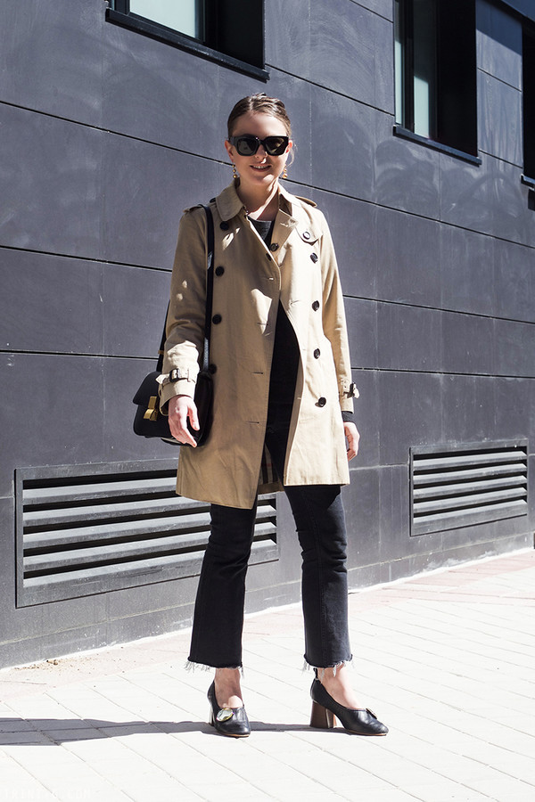 trini blogger sunglasses jewels coat sweater jeans shoes bag trench coat shoulder bag ballerina heels pumps spring outfits