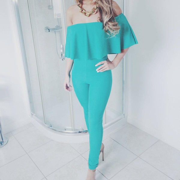 4916480f1782 jumpsuit green turquoise chain heels off the shoulder fashion cute frill  jumpsuit.
