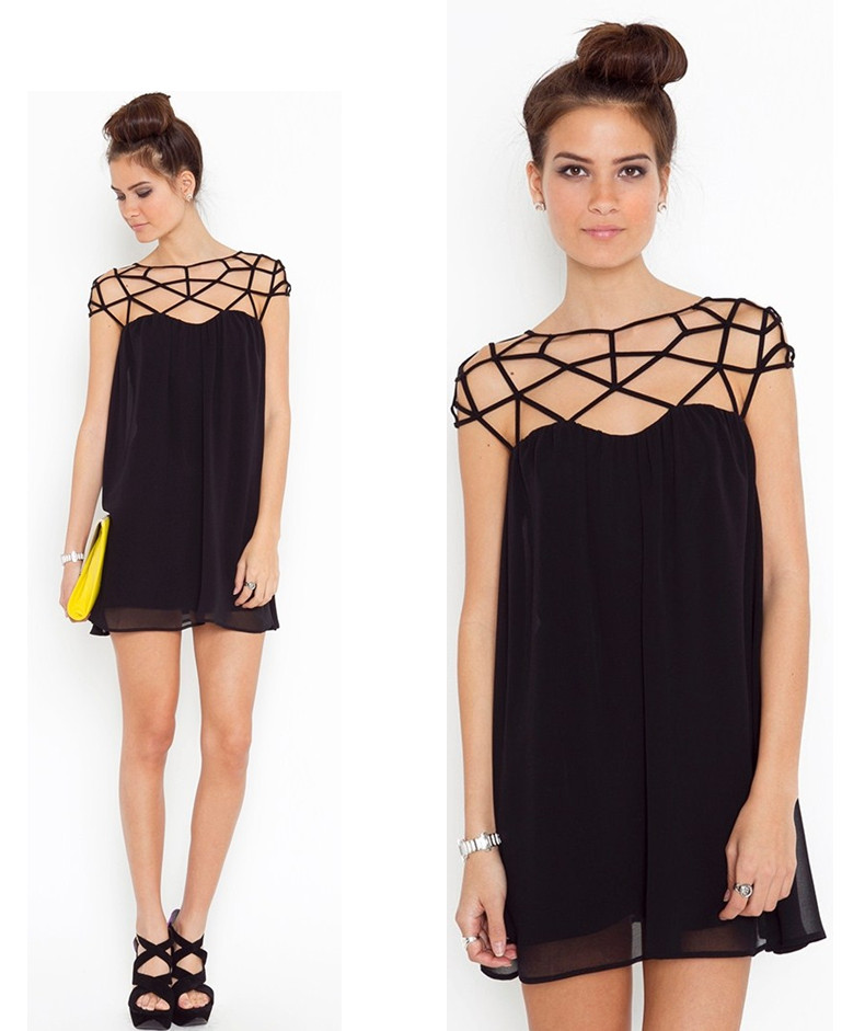 Dresses new fashion 2014 new Little black skirt of hollow out ...