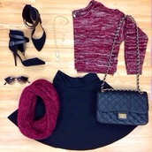 sweater,knitwear,skater,skater skirt,black,snood,heels,necklace,bag,cute,winter outfits,fall outfits,burgundy,skirt,shoes,cardigan,blouse