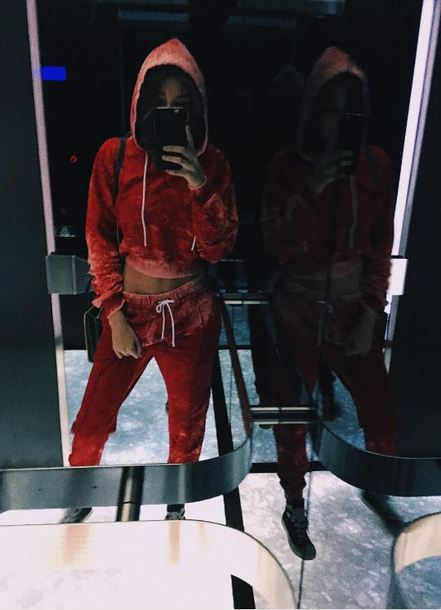 sweater hoodie sweatpants sweatshirt madison beer instagram milan fashion week 2017 fashion week 2017 velvet red pants