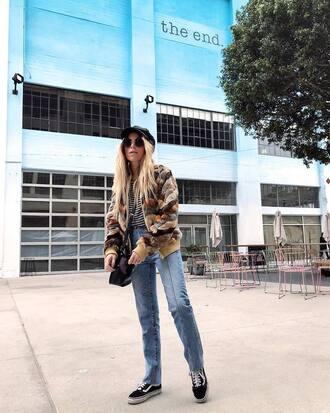jacket tumblr fur jacket faux fur jacket denim jeans blue jeans sneakers black sneakers hat fisherman cap sunglasses
