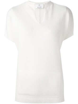 blouse knit women white wool top