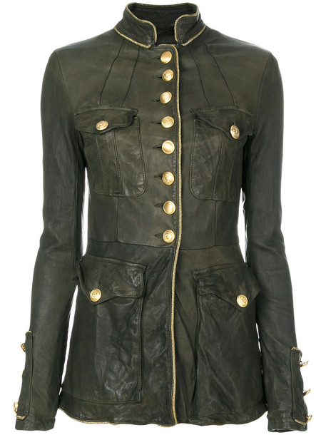 jacket women spandex leather wool green