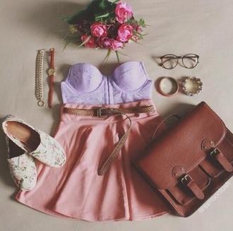 shoes purple dress summer dress summer pastel cute pretty glasses chic accessories watch belt bracelets chain pink purple dress flowers bag leather