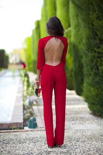 jumpsuit red one piece