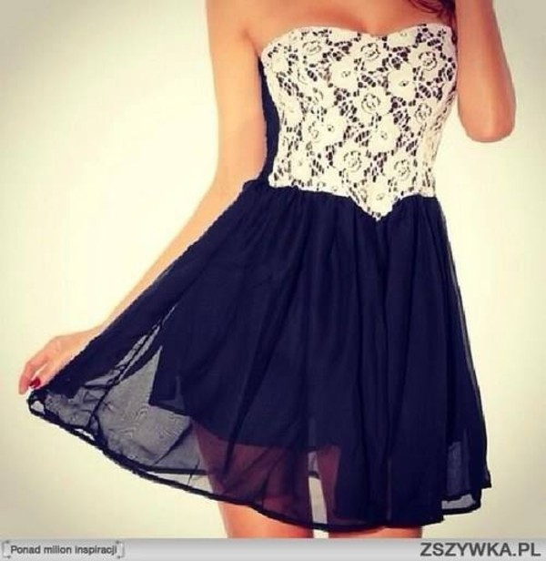 dress lace black fashion lace dress white flowers clothes