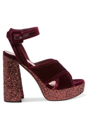 sandals platform sandals velvet burgundy shoes