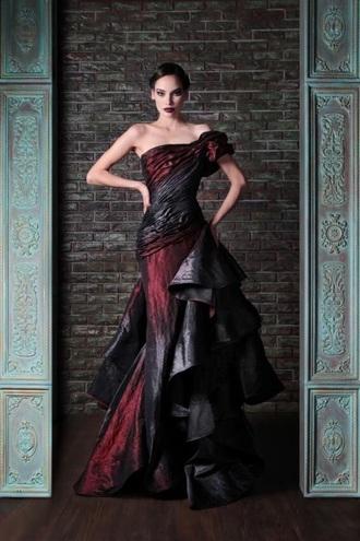 dress black dress red dress long dress mermaid prom dress black red long one shoulder ruffle