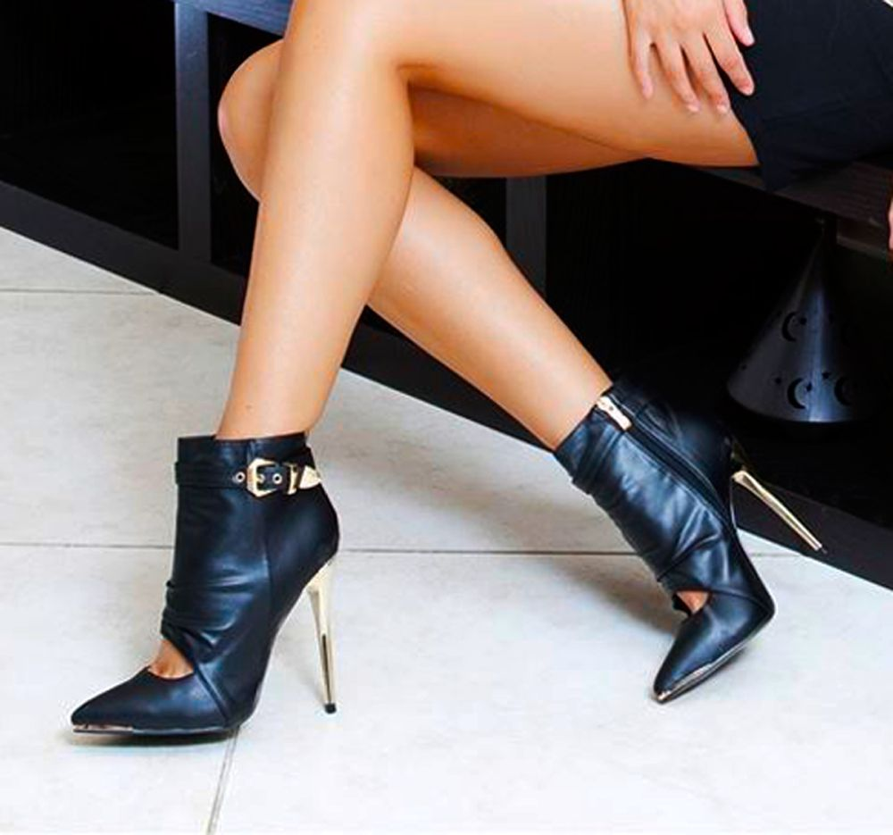 LADIES HIGH HEEL ANKLE BOOT STRAPS CUT OUT GOLD GLOSS HEEL BUCKLE POINT TOE SIZE