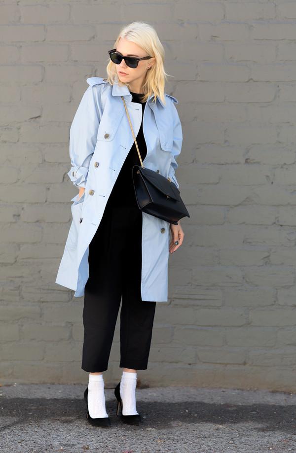 always judging coat pants sweater sunglasses bag shoes