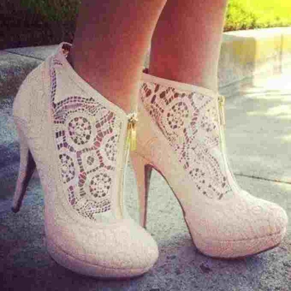 shoes high heels nude heels girly heels lace white zip lace heels wedding shoes zip white heels with lace