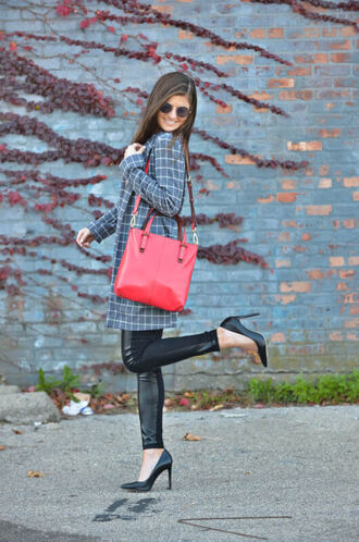to be bright blogger coat pants sweater bag shoes plaid shirt red bag high heels pumps black leather pants printed coat checkered sunglasses round sunglasses