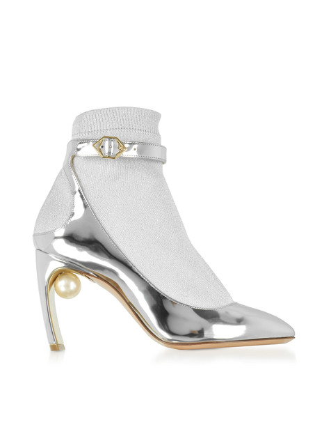 Nicholas Kirkwood Silver Laminated Leather And Fabric Lola Pearl Sock Pumps