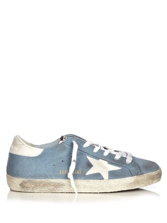 top suede white blue