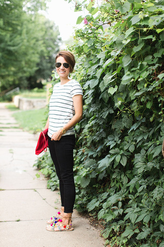 one little momma blogger shirt pants shoes sunglasses jewels pom pom sandals sandals flat sandals black jeans jeans striped top short sleeve aviator sunglasses rayban clutch red clutch earrings statement earrings