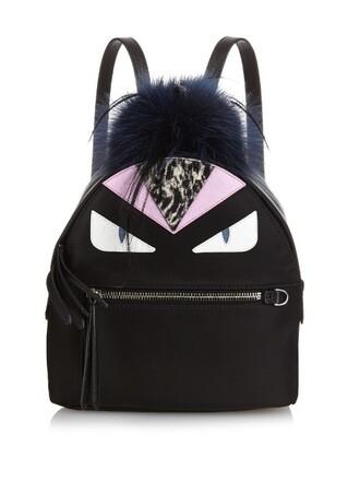mini fur bag backpack black
